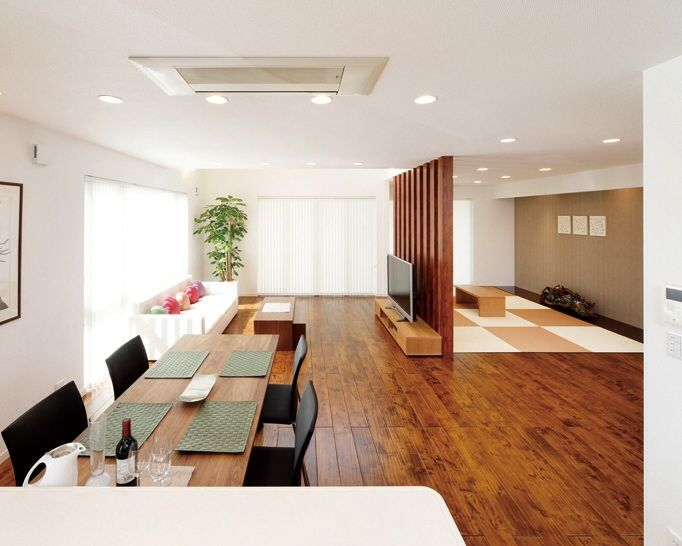 Modern Japanese living room with tatami corner.