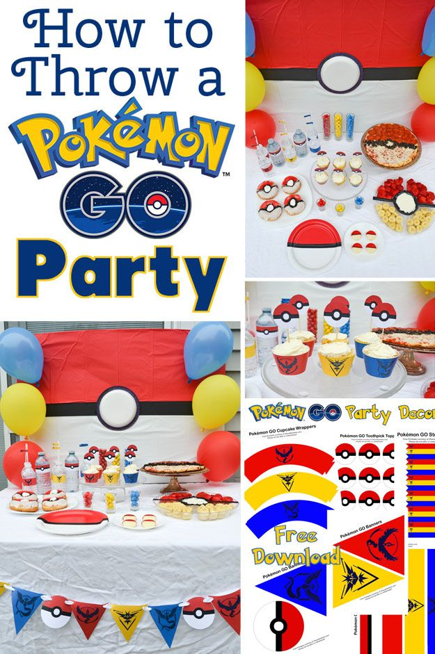 How to Throw a Pokémon GO Party - Throw a Pokémon GO party with these fun food ideas and free party decoration and party printables to download. It's perfect for a Pokemon birthday party! #Pokemon #party #freeprintable