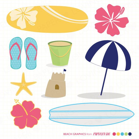 Beach clipart instant download: COMMERCIAL USE or personal, beach graphics clip art, Beach Party vectors, surf board, hibiscus flower
