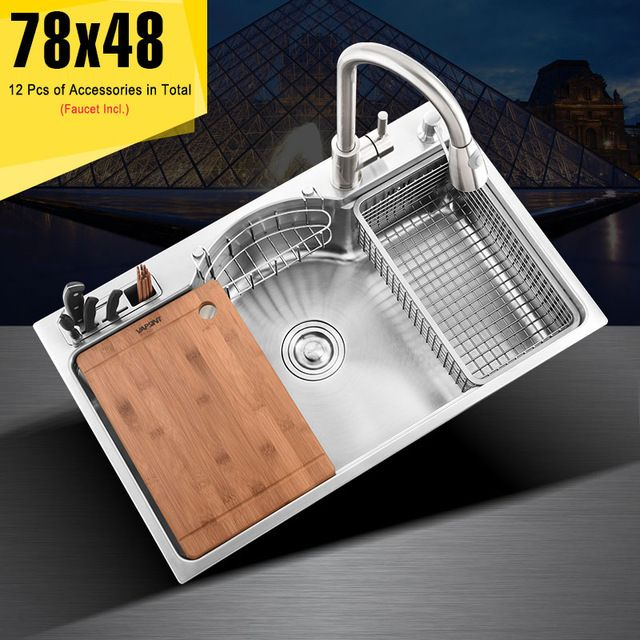 Multifunctional Thicken Kitchen Sink Set With Stainless Steel Drainer And Hot And Cold Fauc Kitchen Inspiration Design Kitchen Room Design Modern Kitchen Sinks
