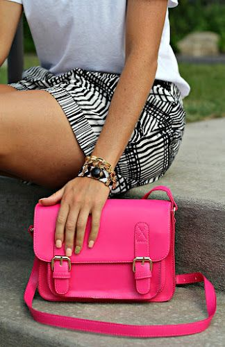 tribal shorts and a bright bag. #shopathomejcpcontest