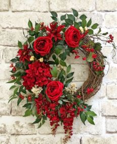 red floral grapevine wreath idea