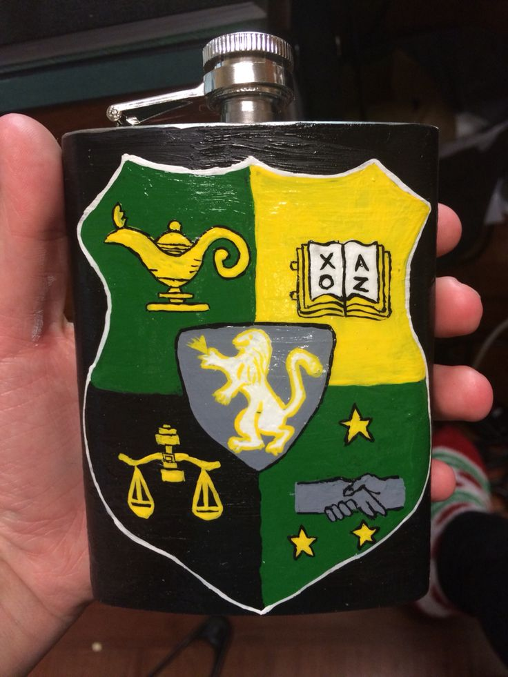 Painted fraternity flask. Lambda chi alpha crest