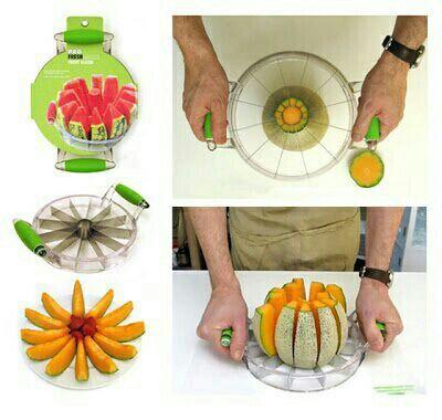 Genial utensilio para cortar melones y sandias