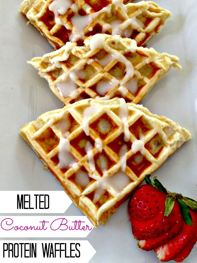 Protein Waffles With Melted Coconut Butter Drizzle Foe Shizzle -THIS BLOG THO