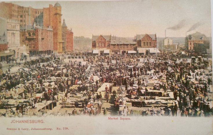 Bustling Market Square Johannesburg - Postcard from A Johannesburg Album