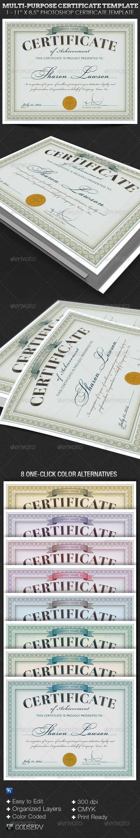 #Multipurpose Certificate #Template - #Certificates #Stationery Download here: https://graphicriver.net/item/multipurpose-certificate-template/6434333?ref=alena994