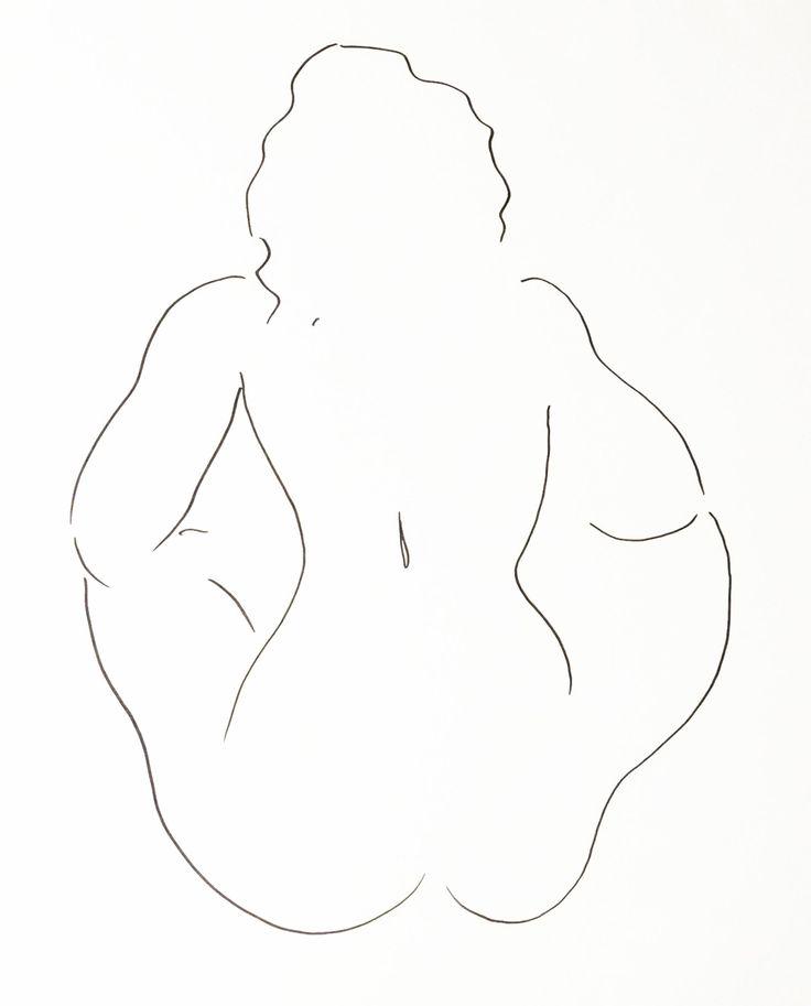 """Nude Figure V, black ink on white paper, 24"""" x 19"""", $1,800, http://transformgallery.com/wayne-ensrud/"""