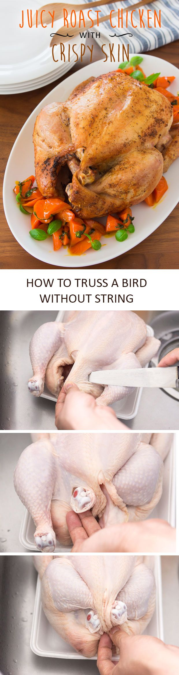 How to get the juiciest most flavorful bird AND crispy skin. Also, an easy way to truss a bird without string. #thanksgiving