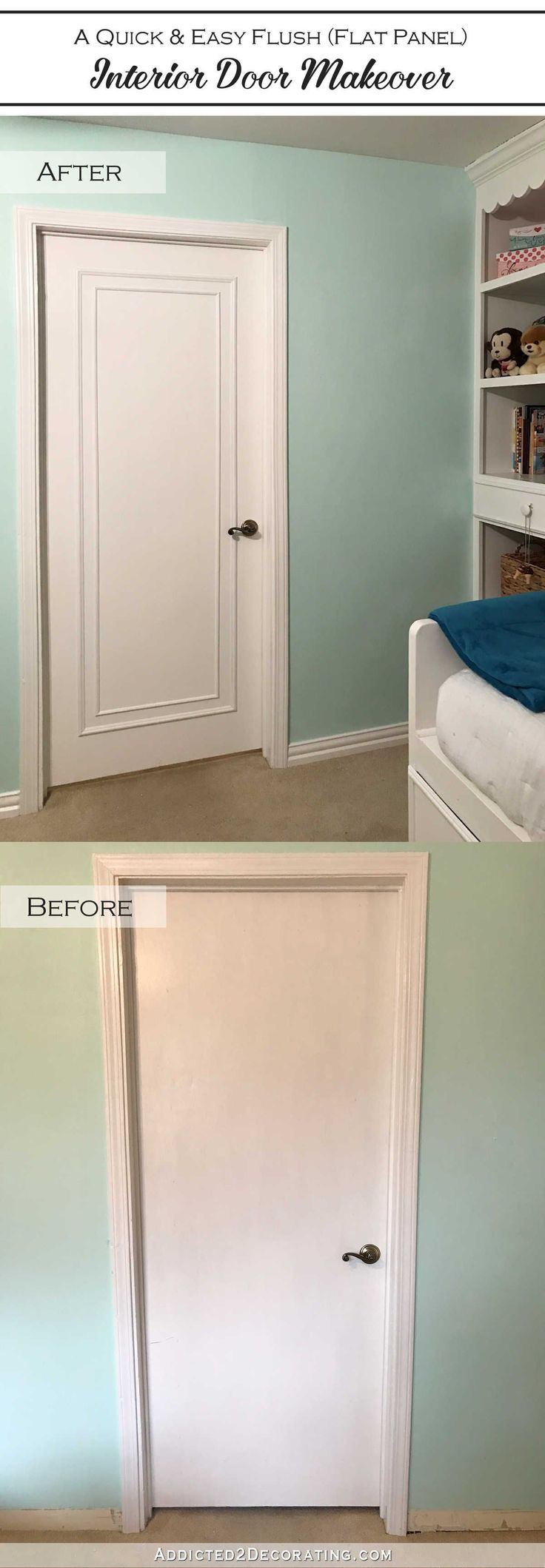 Interior bedroom door - An Easy Inexpensive Way To Update Flush Flat Panel Interior Doors With Moulding