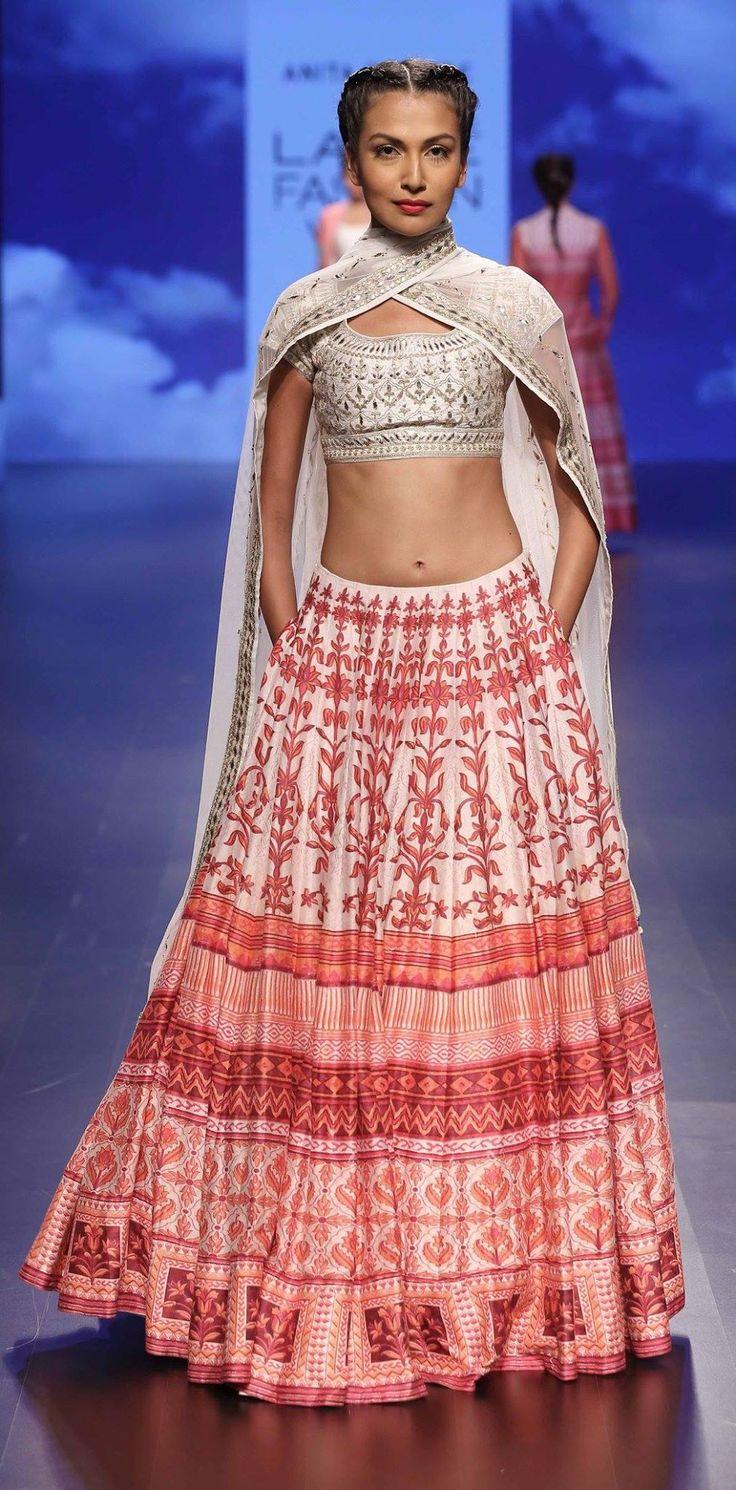 White and red lehenga and duppata by designer Anita Dongre. Indian fashion. #Bridelan #anitadongre #lakmefashionweek