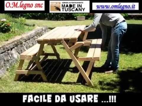 Tavolo che diventa panca YouTube Tavolo, Tavolo giardino