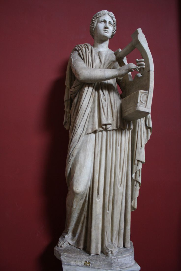 A 1st century CE Roman sculpture of Erato, the Muse of lyric poetry, playing the lyre. (Vatican Museums, Rome).