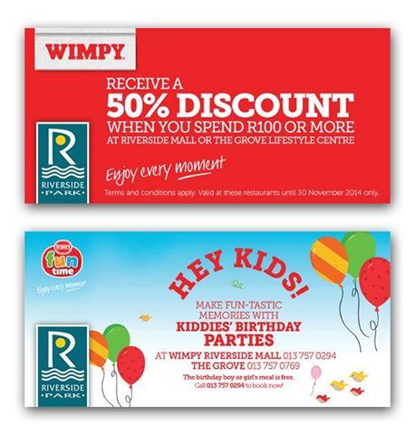 Hurry on down to the Wimpy in the Mall, present this voucher and if you spend more than R100 you will receive a 50% discount!