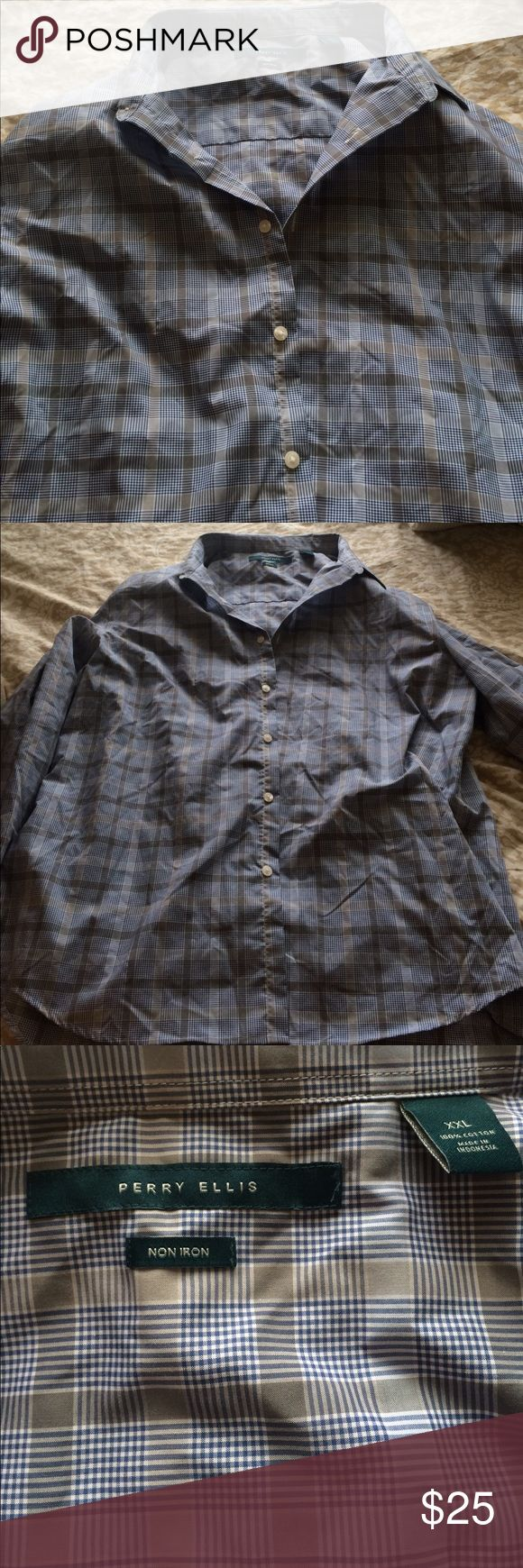 PERRY ELLIS non iron dress shirt - WORN ONCE EUC PERRY ELLIS dress shirt in sharp gray and blue plaid. Non iron and machine washable means easy maintenance. Worn once before he changed his mind on it!! Perry Ellis Shirts Dress Shirts