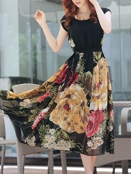 Elegant Round Neck Chiffon Floral Printed Maxi-dress Maxi Dresses from fashionmia.com