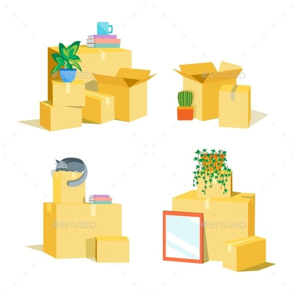 Cardboard Boxes For Moving Set. Vector