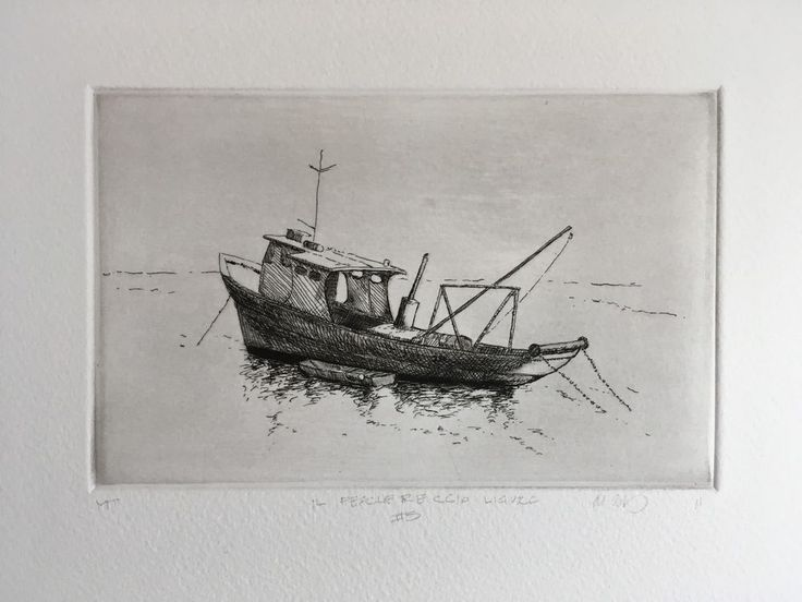 This is a unique impression of a Ligurian fishing boat from the seaport of Santa Margherita Ligure in Italy. It combines the intaglio techniques ofetchingandmonotype. Santa Margherita Ligure is the fishing village just south of Portofino and hosts one of the largest commercial fishing fleets in Italy. It is a bustling seaport where the contemporary world mixes with the traditions of the past.