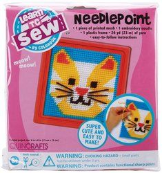 Colorbok Cat Learn To Sew Needlepoint Kit, 6-Inch by 6-Inch Pink Frame by Colorbok. $4.88. Brand New Item / Unopened Product. 59338. 765468593388. Colorbok. Quincrafts Learn to Sew: Needlepoint. Everything anyone needs to learn to needlepoint. This package contains pre-printed plastic canvas, a plastic frame, 26yd/23m of yarn, embroidery needle, and easy-to-follow instructions. Finished art measures 6x6in. Recommended for children ages 6 and up. WARNING: CHOKING HAZARD-s...