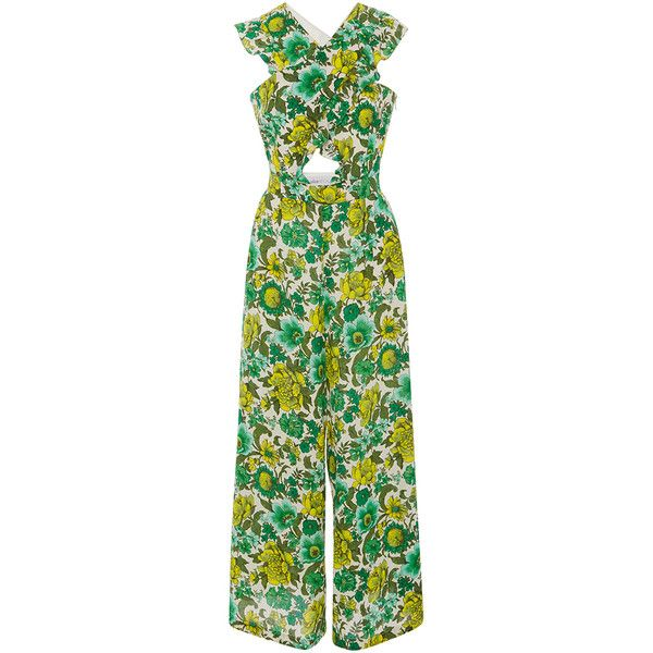 Alice McCall Wildhood Cutout Printed Jumpsuit ($390) ❤ liked on Polyvore featuring jumpsuits, dresses, purple, floral print jumpsuit, floral jumpsuit, green jumpsuit, jump suit and cut-out jumpsuits