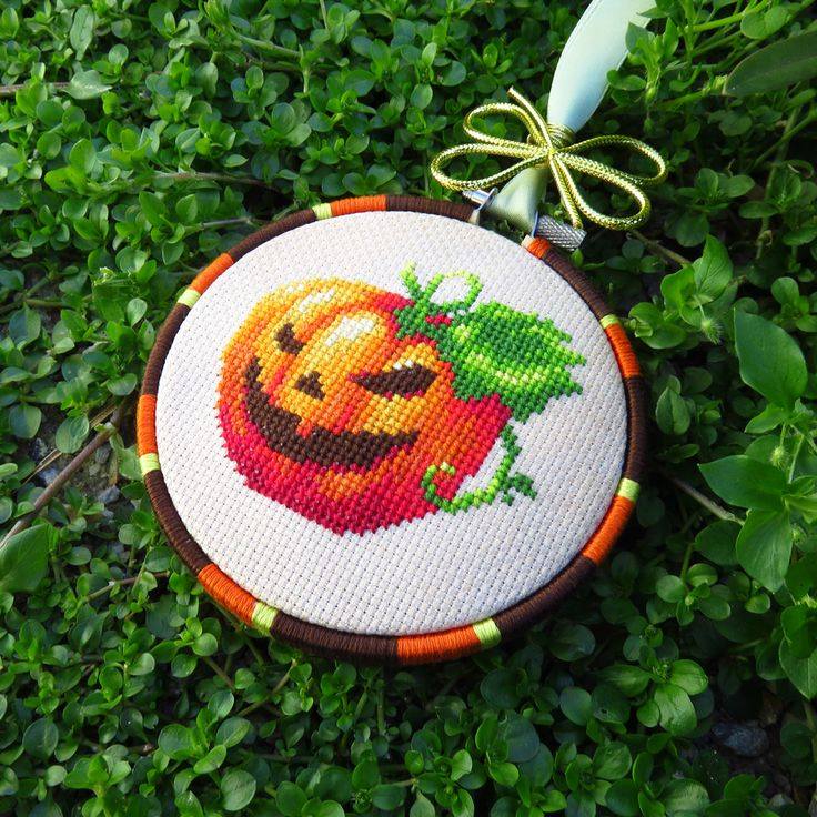 Cross stitch pumpkin.