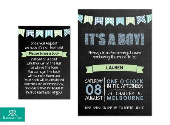 It's a Boy! Chalkboard Bunting Baby Shower Invitations and Bring a Book Cards - Blue Green Grey