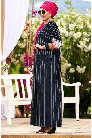 Nesrin Emniyetli Kolaj Desenli Şifon Elbise 2160103 Siyah