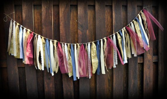 Americana Ribbon Banner Western Party Banner Lace by TutuHappyLLC