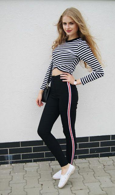 8fb34038be SHEIN #Ladies #Side #Striped #Skinny #Pants | Bottoms | Skinny pants ...