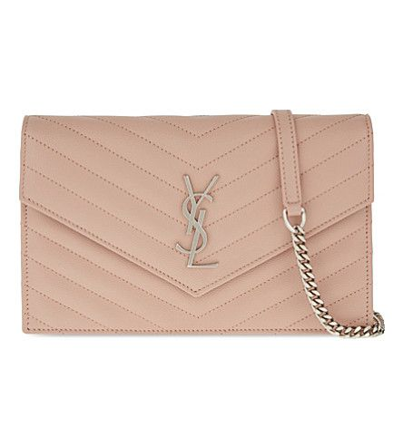 SAINT LAURENT Monogram quilted leather envelope wallet-on-chain. #saintlaurent #clutch bags