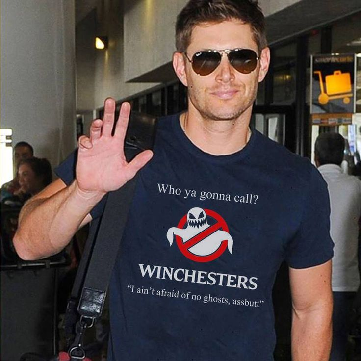 Jensen in an awesome Ghostbusters shirt