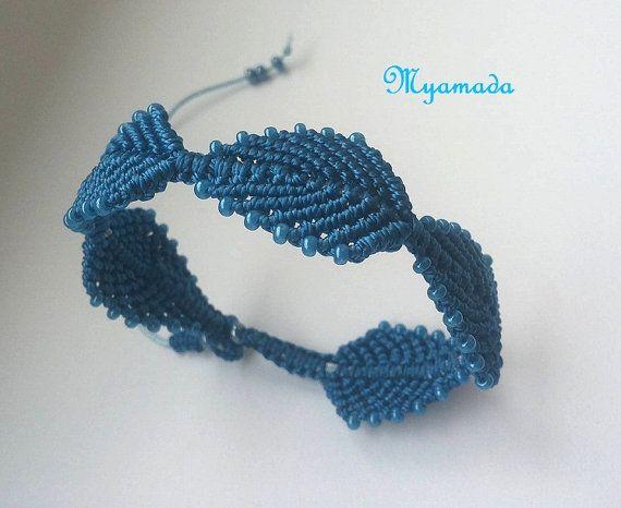 Blue leaf micro macrame bracelet / free shipping