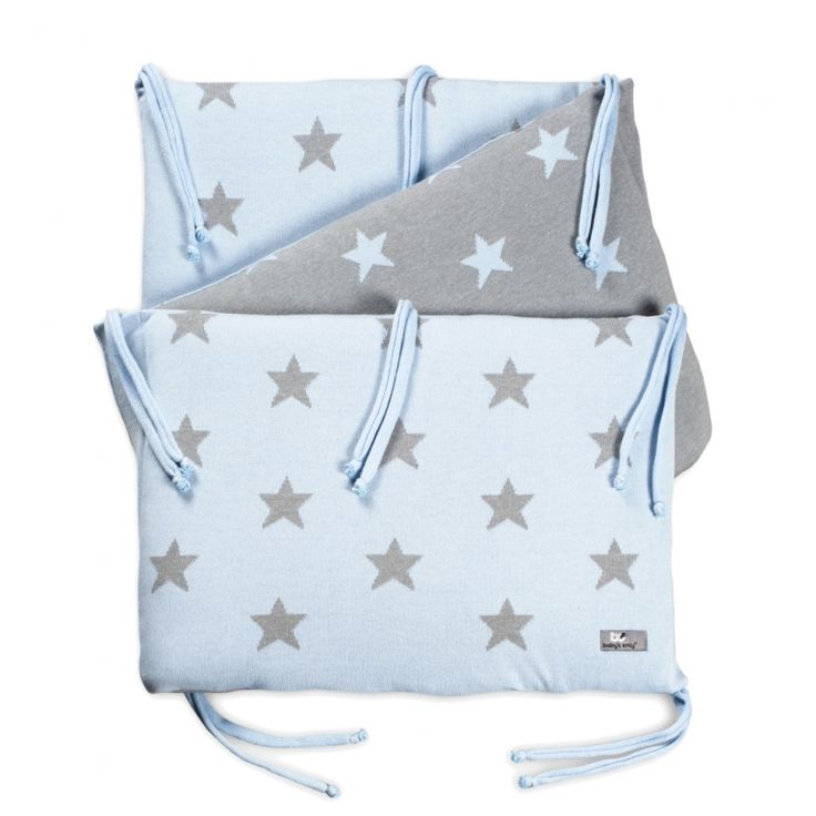 Strick Babybett Nestchen Sterne hellblau/grau