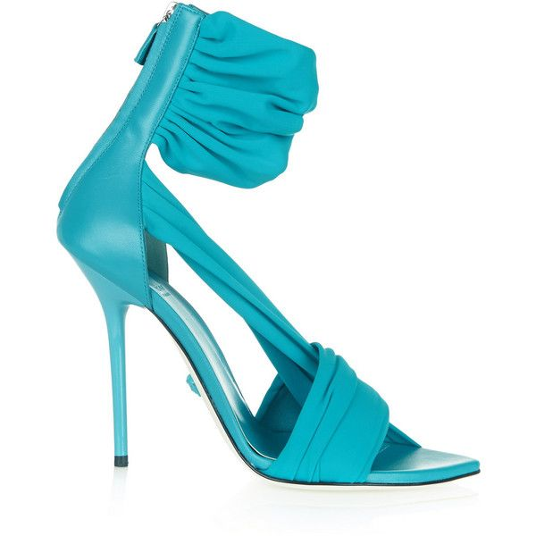 Versace Leather and satin-jersey sandals ($385) ❤ liked on Polyvore featuring shoes, sandals, heels, teal, heeled sandals, versace shoes, teal high heel shoes, teal sandals e high heel shoes