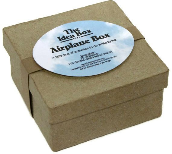 Airplane Mini Box : 20 Activities for Kids on an Airplane.  GREAT idea for flying on an airplane with little ones!