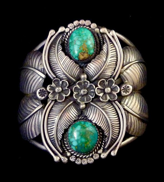 Museum Quality 91g Vintage Navajo Sterling Silver Cuff Bracelet w Gorgeous Royston Turquoise & Remarkable Silversmithing Details!