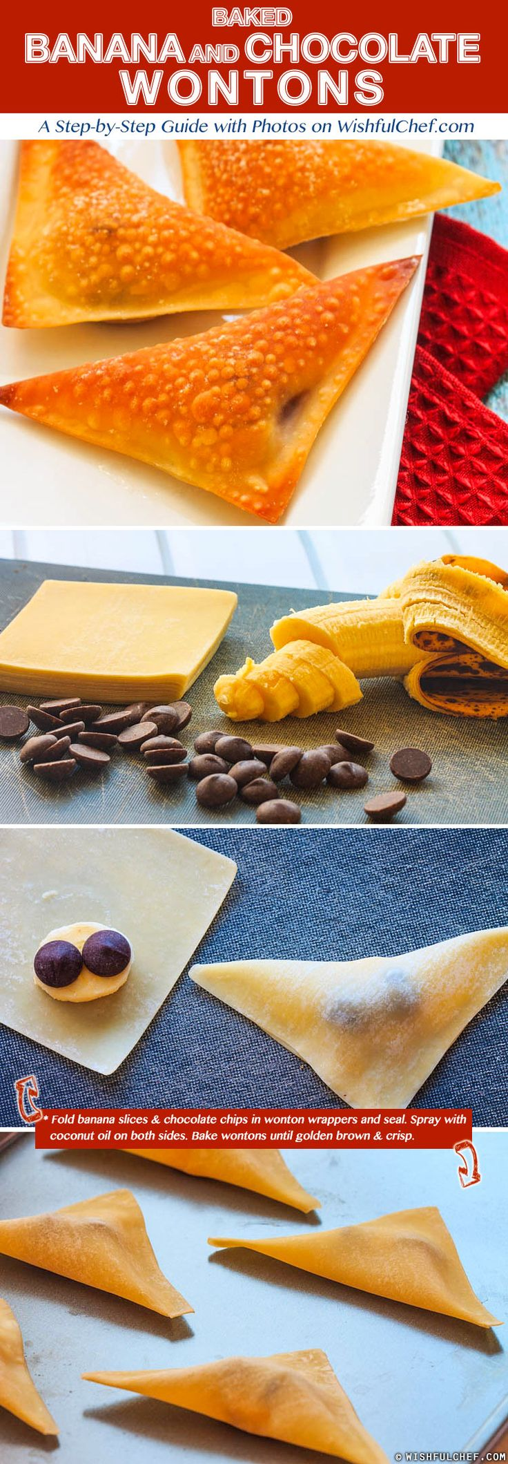 Baked Banana and Chocolate Wontons // wishfulchef.com #stepbystep #dessert #recipe