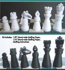 32 piece chess set quilling kit - perfect for Father's Day!  Each piece uses basic quilling and miniature techniques.