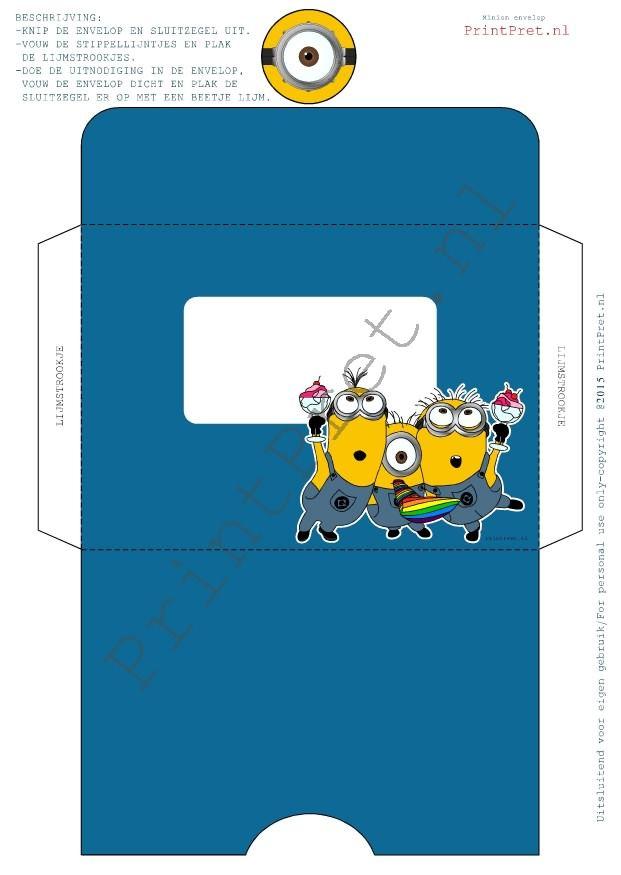 Minion envelop, leuk om de Minion uitnodiging in te geven voor een kinderfeestje. Onderdeel van het Minion downloadbare feestpakket van www.PrintPret.nl