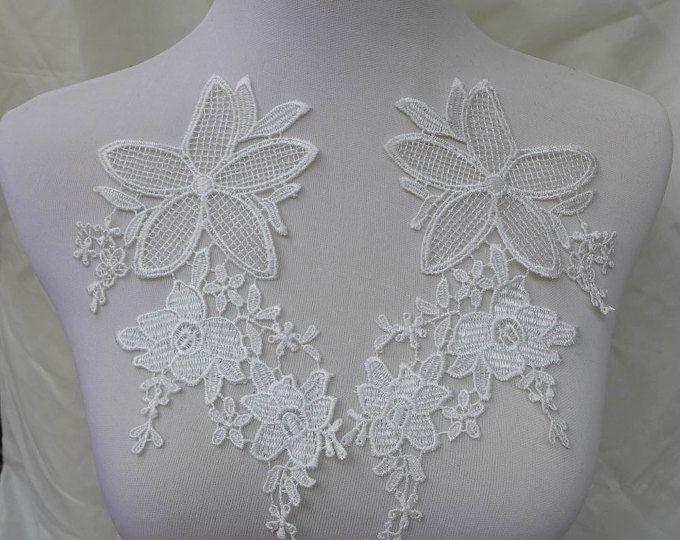coppia di applique da sposa pizzo in avorio per nozze, gioielli di pizzo, cucito, costumi