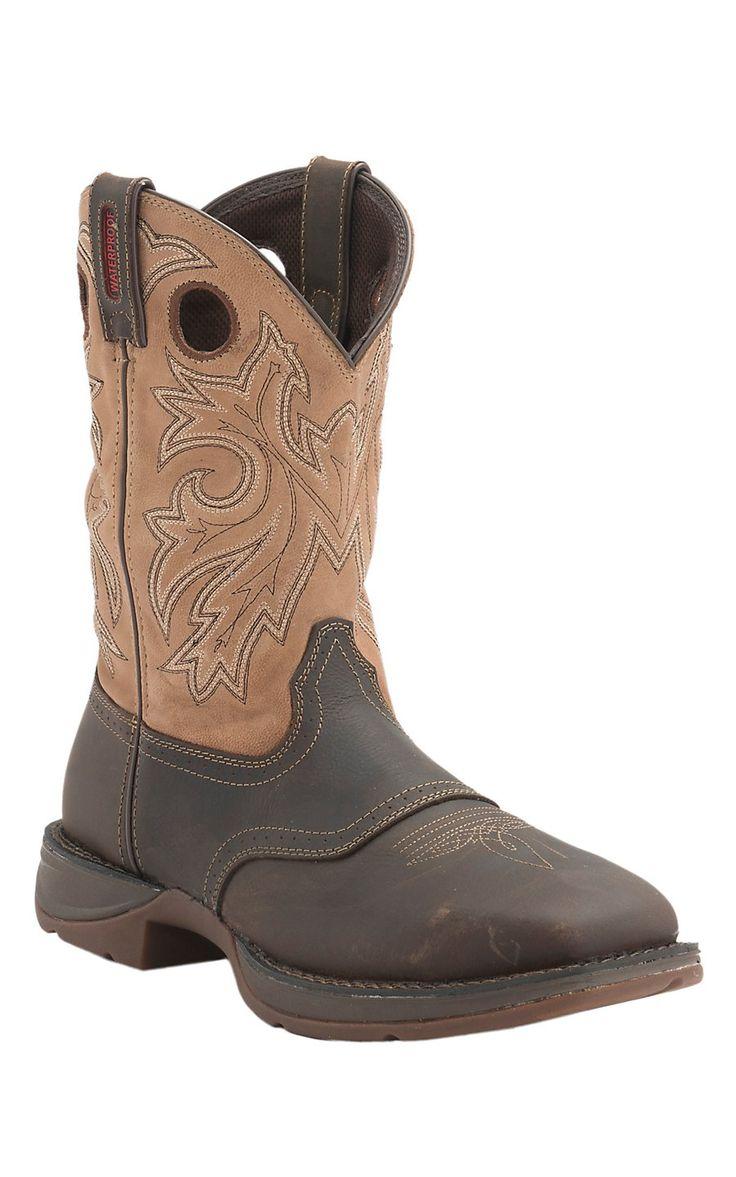 Durango Rebel Men's Distressed Brown w/ Tan Top Square Steel Toe Waterproof Work Boots