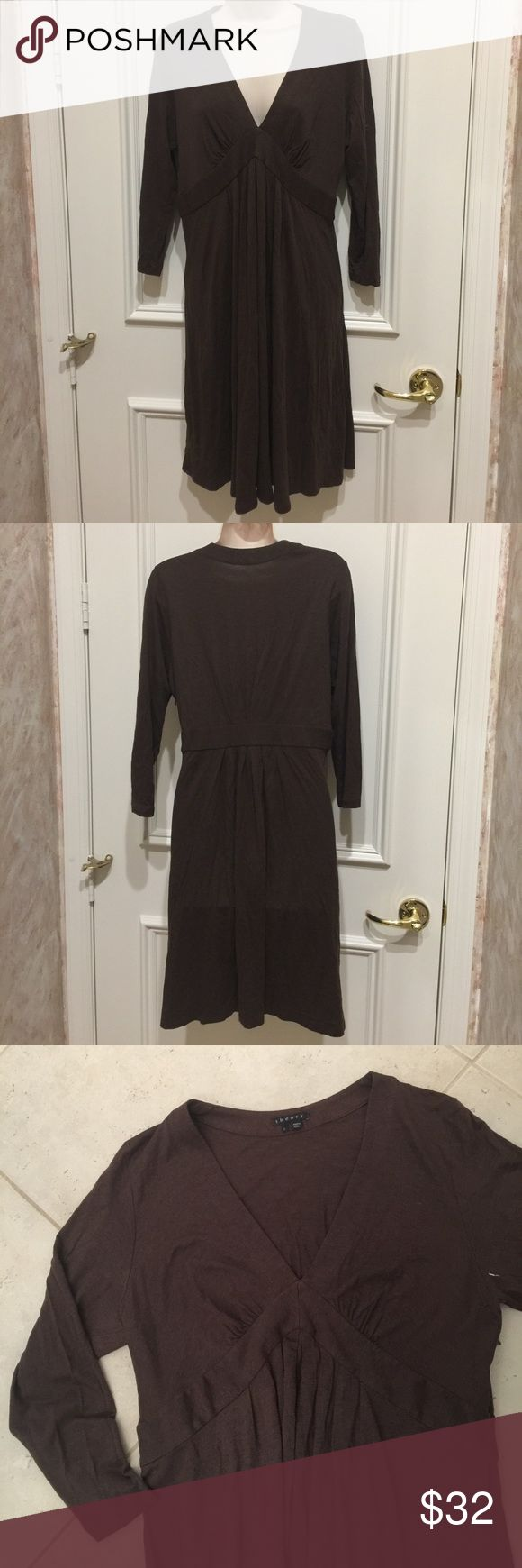 Theory Brown V-Neck 3/4 Sleeve Dress Theory Brown V-Neck 3/4 Sleeve Dress. Size Large. 50% Cotton, 50% Modal. Perfect transitional dress into fall! Theory Dresses Midi