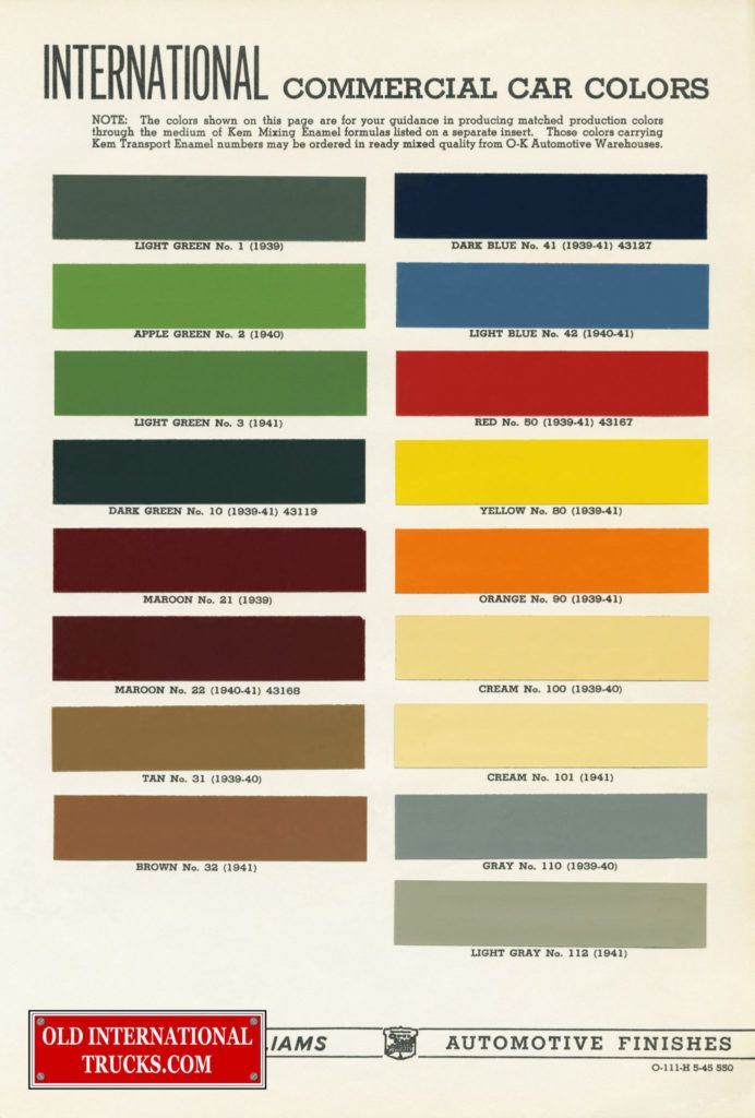 1939-1941 color chart  Color Charts • Old International