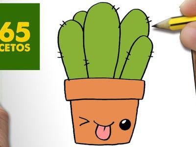 COMO DIBUJAR CACTUS KAWAII PASO A PASO - Dibujos kawaii faciles - How to draw a CACTUS