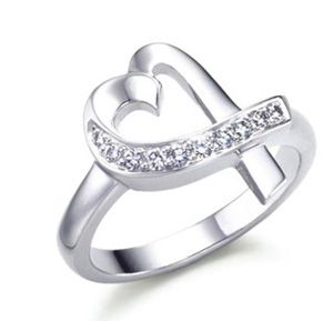 Tiffany & Co anomalous heart inlay Diamond silver Ring Tiffany & Co.