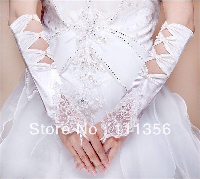 Невеста свадебные перчатки Локоть длина кот кружева атласная плиссированные утечки перчатки
