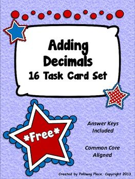 Adding Decimals Task Card Set - Patriotic Theme FREE!
