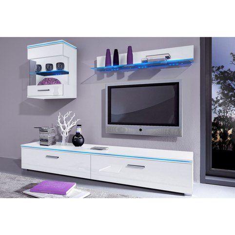 Meuble TV 1 porte abattante, haute brillance, largeur 120 cm - 3Suisses