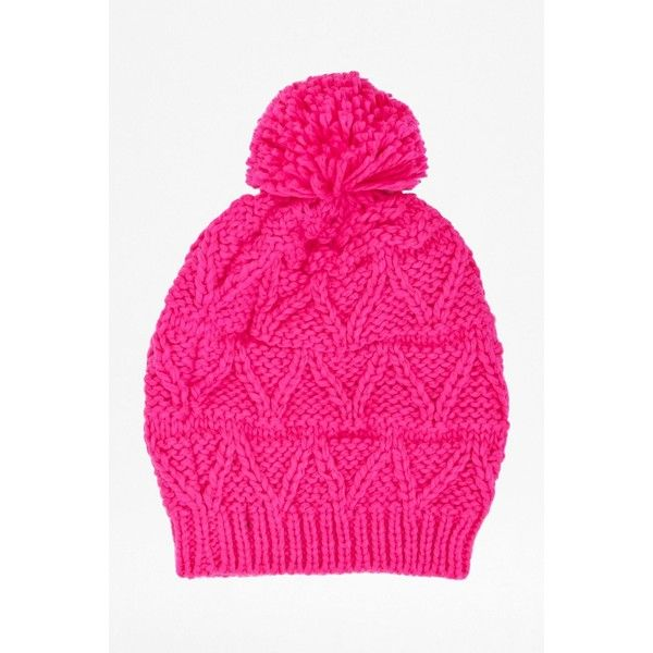 French Connection Tabitha hat ($14) ❤ liked on Polyvore featuring accessories, hats, hats & hair accessories, pink, bobble hat, thick knit hat, pink hat, french connection and chunky knit hat