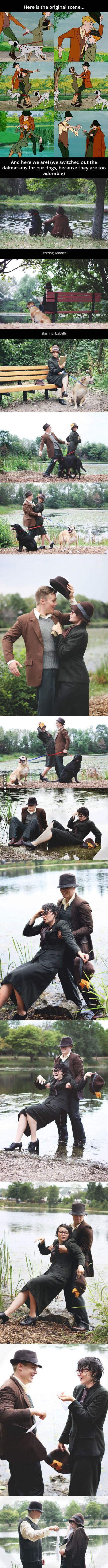 His future wife's favorite movie is 101 Dalmatians. For their engagement photos…